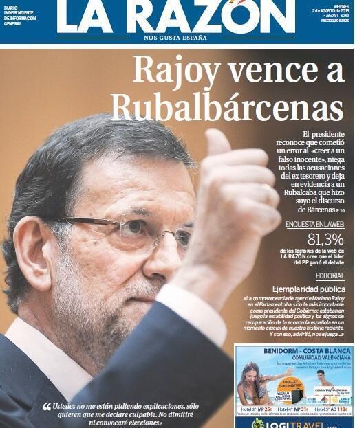Portada La Razón Rajoy