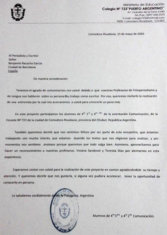 Carta alumnos Colegio Nº723 Puerto Argentino